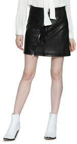 Venus Vintage Wash Leather Mini Skirt