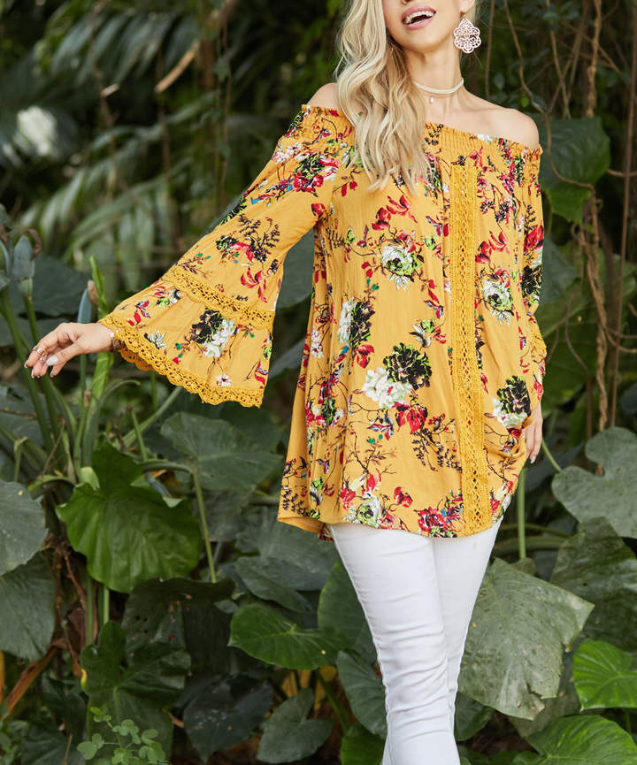 Marigold Floral Off-Shoulder Tunic - Women & Plus