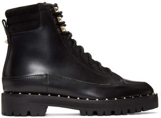 Valentino Black Garavani Sole Studded Hiking Boots
