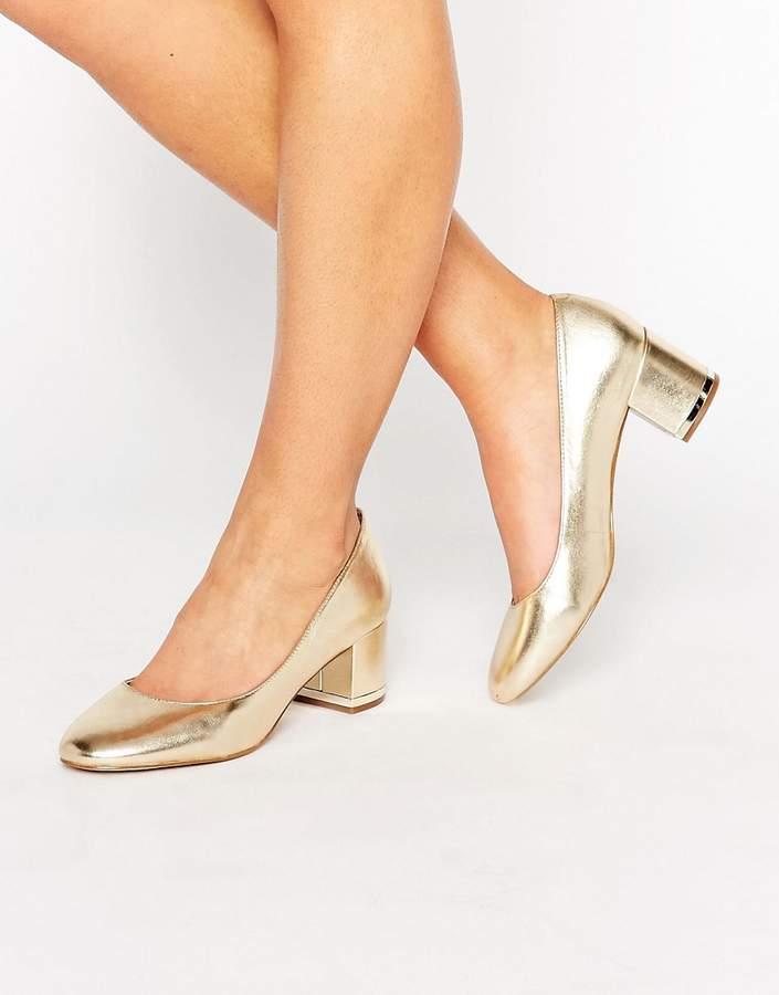 ALDO Falia Gold Leather Block Mid Heeled Shoes