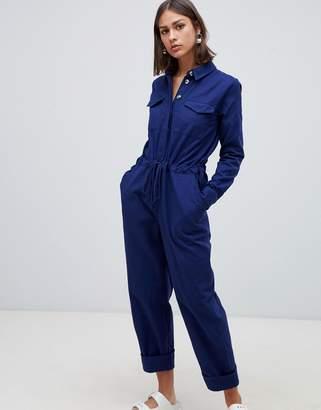 Asos Design DESIGN casual boilersuit with tie waist