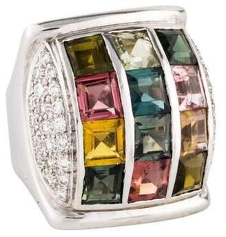 Ring 18K Multi-Color Tourmaline & Diamond