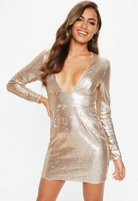 Missguided Rose Gold Plunge Matte Sequin Mini Dress