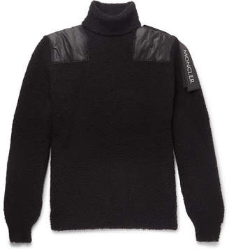 Moncler C - Shell-Panelled Wool-Blend Boucle Rollneck Sweater - Men - Black