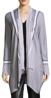 St. John Two-Tone Long-Sleeve Cardigan