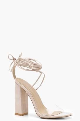 c24d6efb3a8 boohoo Clear Strap Wrap Ankle Block Heels