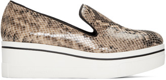 Stella McCartney Beige Snake-Embossed Binx Loafers $490 thestylecure.com