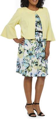 Danny & Nicole 3/4 Bell Sleeve Floral Belted Jacket Dress-Plus