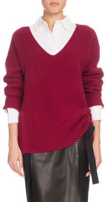 Altuzarra V-Neck Long-Sleeve Side-Ruche Cashmere Sweater