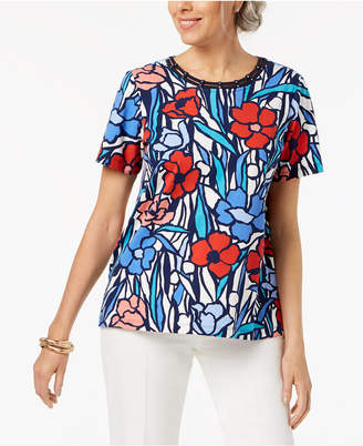 Alfred Dunner Petite Cutout-Neck Stained-Glass-Print T-Shirt
