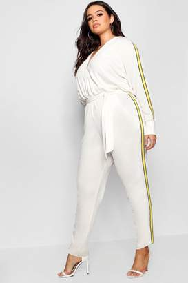 boohoo Side Stripe Hooded Jumpsuit