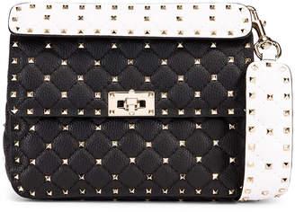 Valentino Rockstud Spike Crossbody Bag in Black & Red & White | FWRD