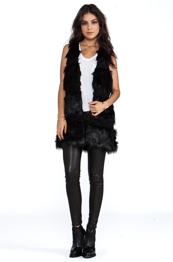 Anna Sui RUNWAY Faux Fur Combo Vest