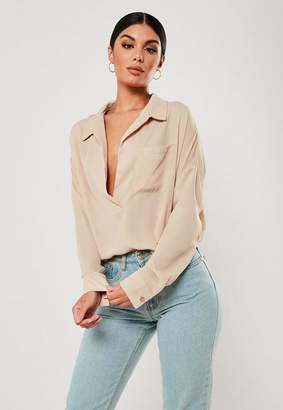 Missguided Sand Oversized Plunge Tunic Blouse