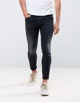 Diesel Stickker Super Skinny Jeans 684J Black Wash