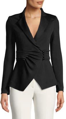Emporio Armani Pleated-Waist Notched-Lapel Chevron-Knit Jacket