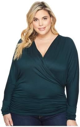 Kiyonna Femme Faux Wrap Top Women's Long Sleeve Pullover