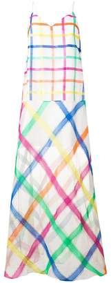Mira Mikati organza embroidered check dress
