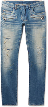Balmain Skinny-Fit Distressed Denim Biker Jeans $1,785 thestylecure.com