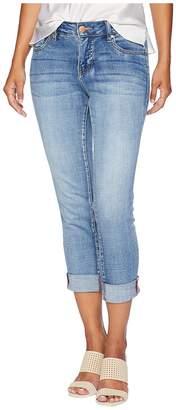 Jag Jeans Petite Petite Carter Girlfriend Crosshatch Denim Jeans in Thorne Blue w/ Destruction Women's Jeans