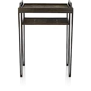 R & Y Augousti Shagreen Side Table With Removable Tray - Antique Black