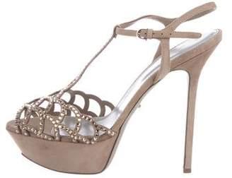 Sergio Rossi Suede Crystal-Embellished Sandals