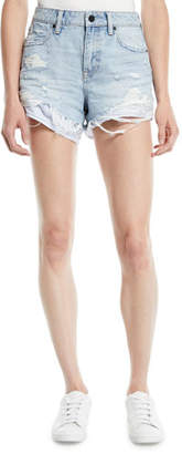 Alexander Wang Bite-Mix Bleached Cutoff Denim Shorts w/ Heavy Destruction