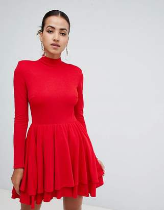 Club L high neck long sleeve skater dress