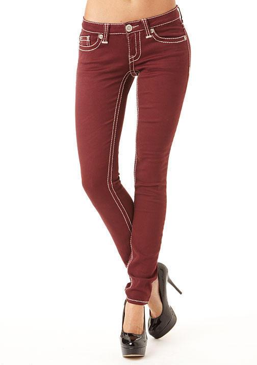 Hydraulic Thick-Stitch Colored Skinny Jean