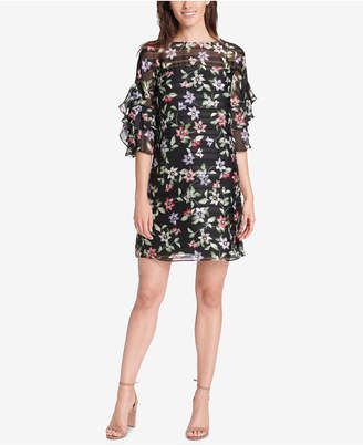 Vince Camuto Floral Print Ruffle-Sleeve Shift Dress