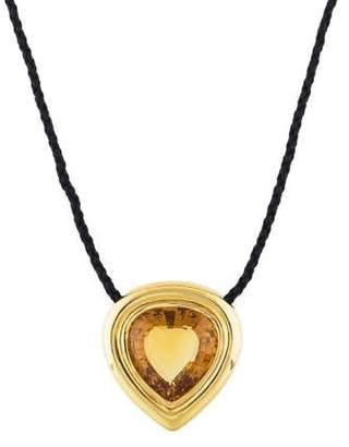 Tiffany & Co. 18K Citrine & Diamond Pendant Necklace