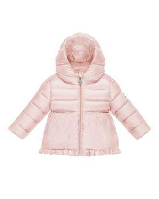 Moncler Odile Ruffle-Trim Puffer Jacket, Pastel Pink, Size 12M-3 $350 thestylecure.com