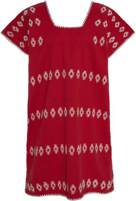 Pippa Holt Red And White Cotton Mini Caftan