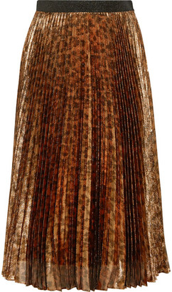 Pleated Leopard-print Silk-blend Lamé Midi Skirt - Leopard print