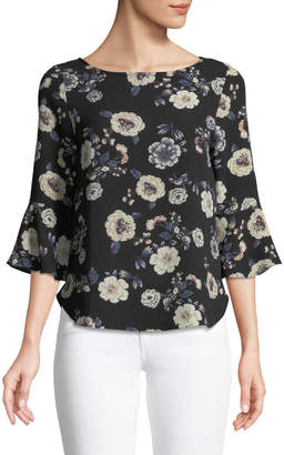 Casual Couture 3/4 Bell Sleeve Floral Blouse