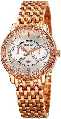 August Steiner Women's Quartz Stainless Steel Casual Watch, Color:Rose Gold-Toned (Model: AS8228RG)