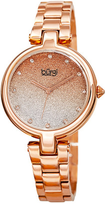 Burgi Women's Rose Gold Stainless Steel Watch