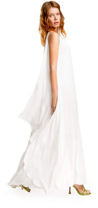 Max Studio silk charmeuse draped gown