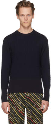 Thom Browne Navy Baby Cable Crewneck Pullover