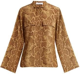 Chloé Patch-pocket python-print silk shirt