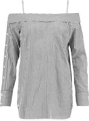 Robert Rodriguez Cold-Shoulder Striped Cotton Top