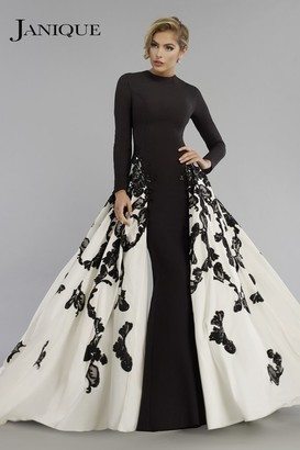 Janique - Long Sleeve Congregated A-Line Open overlay Gown W1632 $878 thestylecure.com