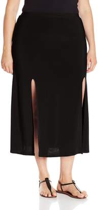 Star Vixen Women's Plus-Size Double Slit Car Wash Maxi Skirt