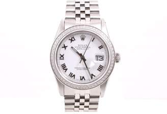 Rolex Datejust Stainless Steel White Roman Numeral Dial & Diamond Bezel 36mm Mens Watch
