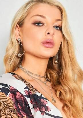 Missy Empire Missyempire Kia Silver Stud Hoop Earrings