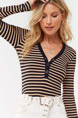 Forever 21 Striped Henley Top