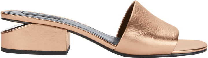 Alexander Wang Lou Rose Gold Leather Slide Sandals