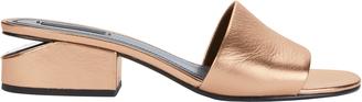 Alexander Wang Lou Rose Gold Leather Slide Sandals $450 thestylecure.com
