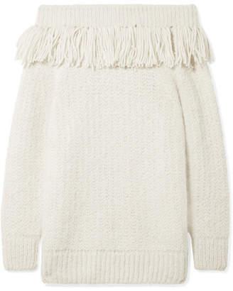 Eleven Paris SIX Bailey Fringed Off-the-shoulder Alpaca-blend Sweater