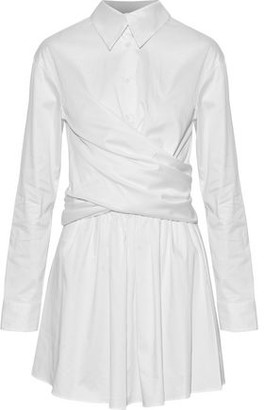 Opening Ceremony Wrap-Effect Cotton-Blend Sateen Mini Dress